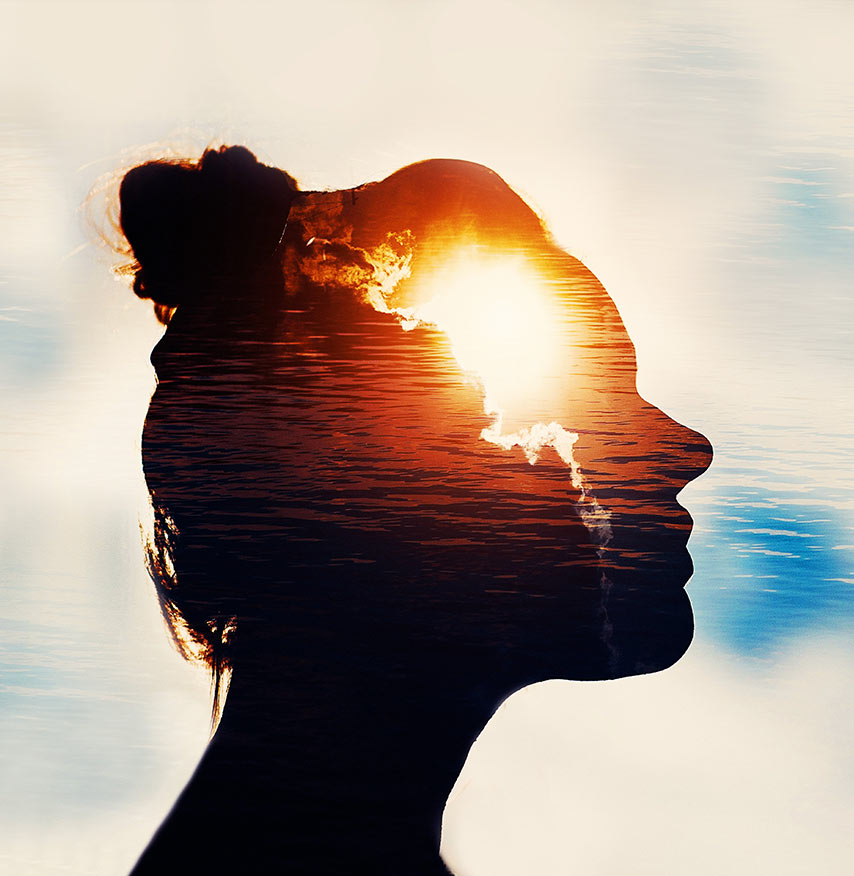 relaxed mind inside a womans head